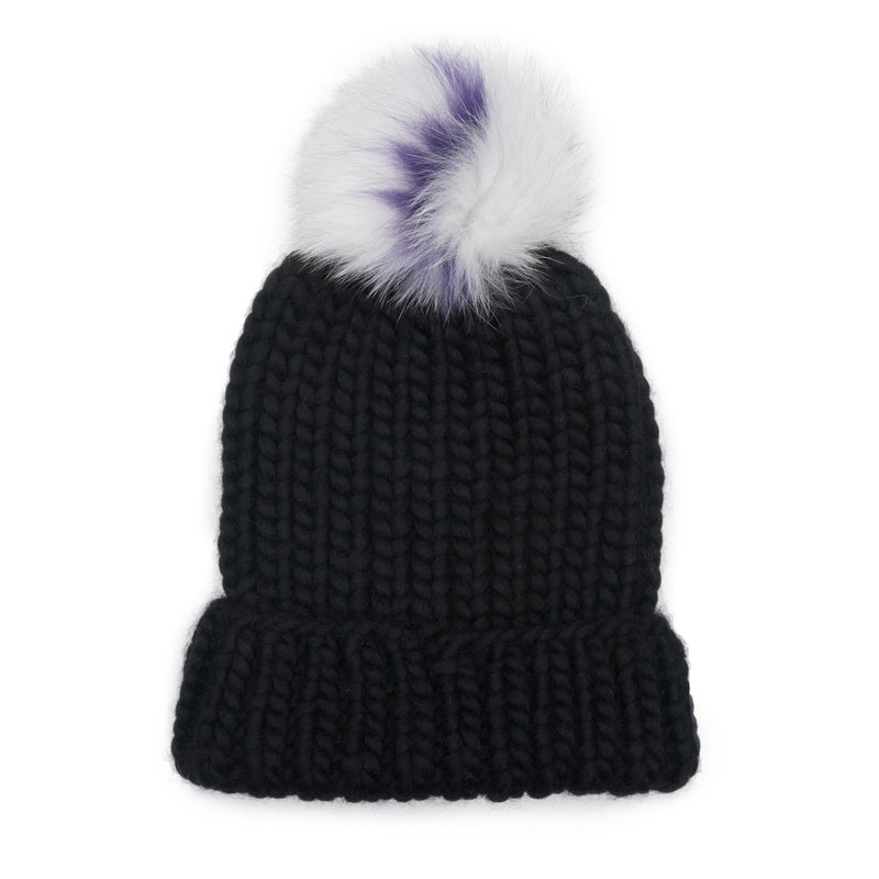 Rain Hand-Knit Beanie with Gray/Purple Pom
