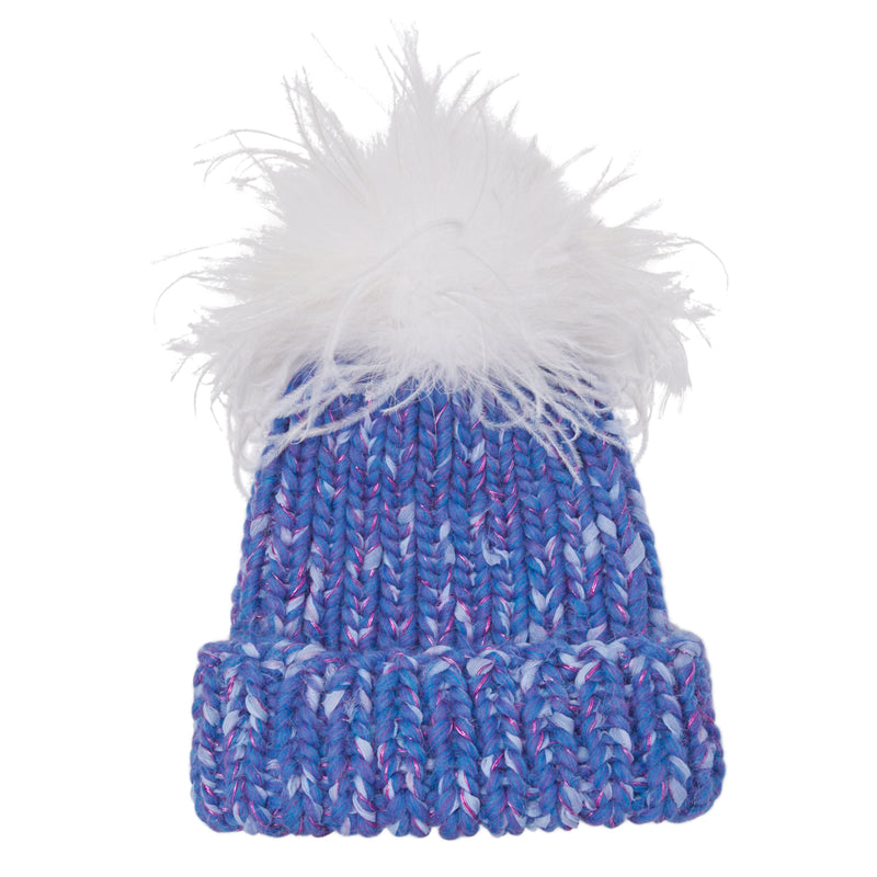 Eugenia Kim hand knit Rain beanie in Periwinkle with White ostrich pom