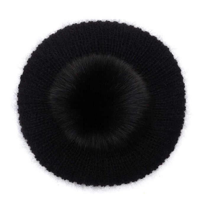Eugenia Kim Core Collection black Rochelle angora knit beret with black fox pom