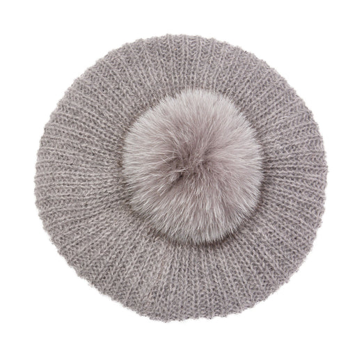 Eugenia Kim Core Collection Rochelle intarsia knit beret with gray fox fur pom