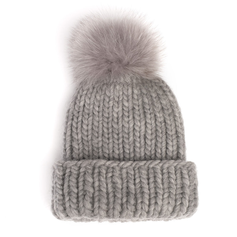 Eugenia Kim Core Collection knit Rain beanie in Gray with Light Gray fox pom