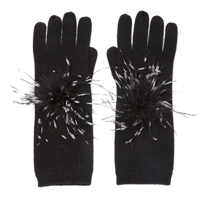 Eugenia Kim cashmere knit Sloane gloves with Black and White metallic Ostrich poms