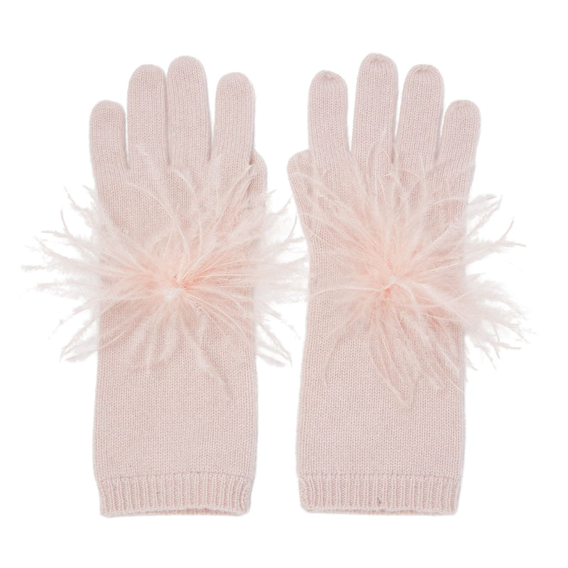 Eugenia Kim Sloane Cashmere Knit Gloves in Blush with Blush Ostrich Feathers