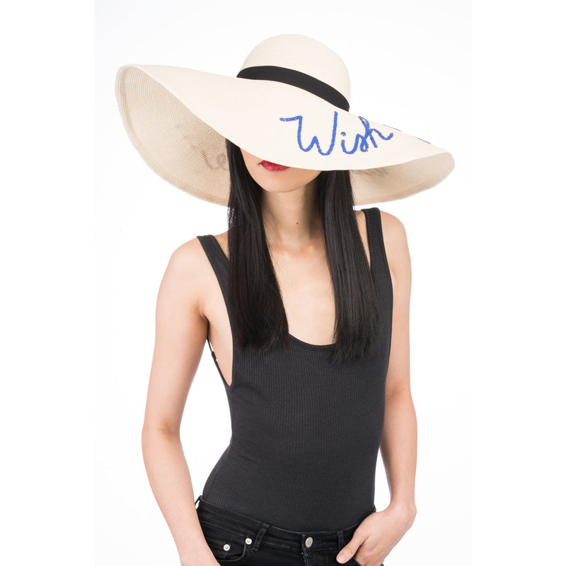 Sunny 'Wish You Were Here' Straw Sunhat in Ivory - Eugenia Kim