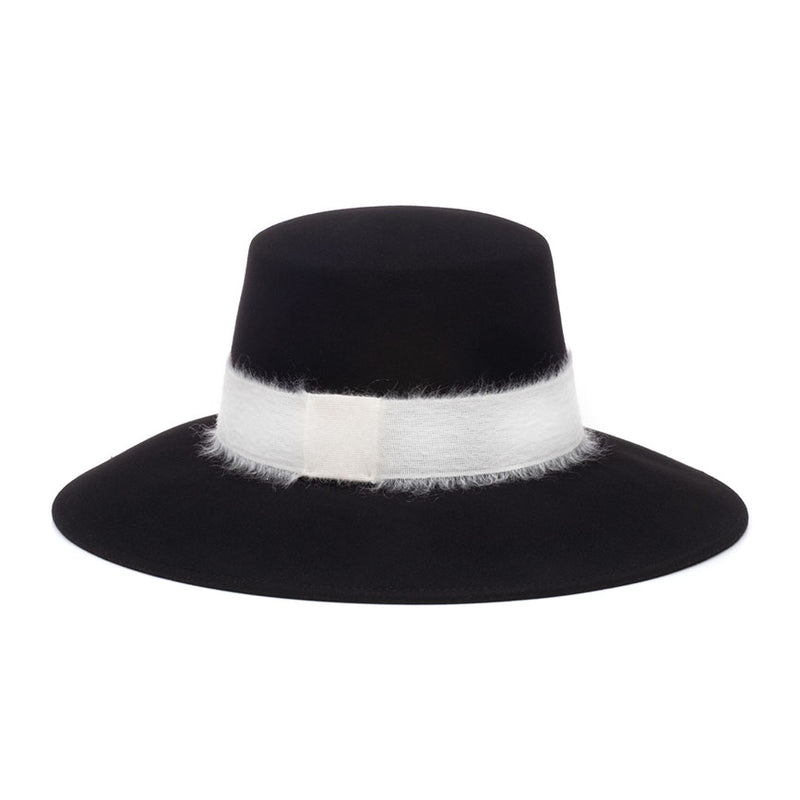 Stevie Black sueded wool felt bucket with ivory mohair band from the Eugenia Kim Pre-Fall 2019 Collection.
