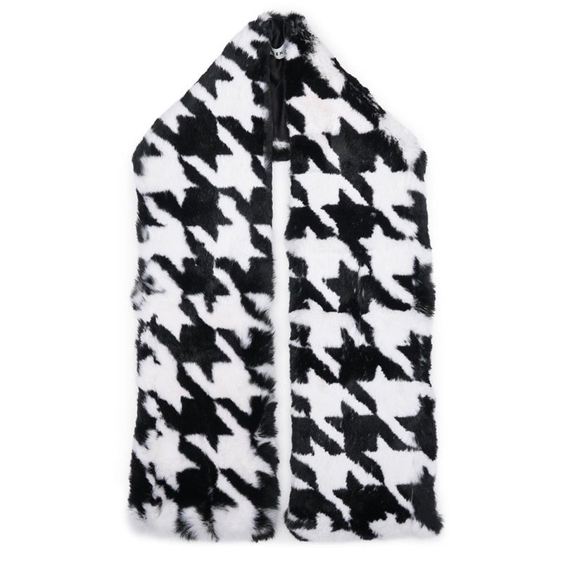 Tatiana Scarf in Black/White Houndstooth - Eugenia Kim