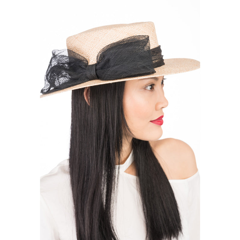 Agata straw boater in Natural - Eugenia Kim