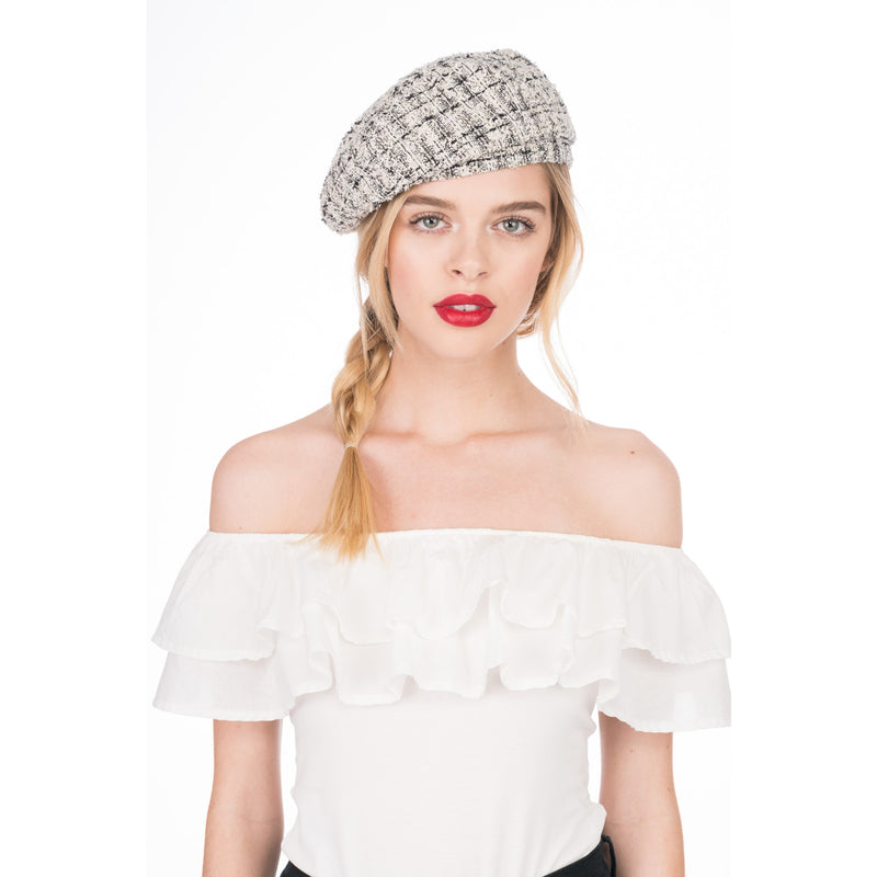 Chloe beret in Ivory/Multi - Eugenia Kim