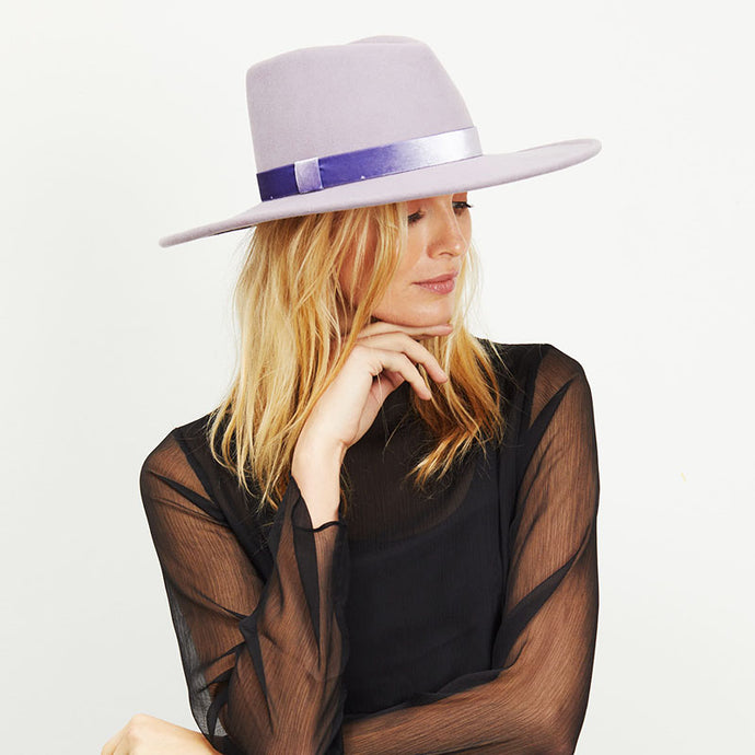 Blonde female model wearing Eugenia Kim Lavender Harlowe fedora