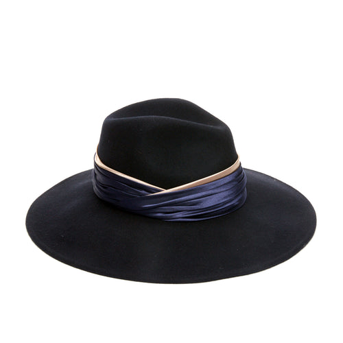 the Naomi Navy wool felt wide-brim fedora with navy/bronze satin ruched band by Genie by Eugenia Kim