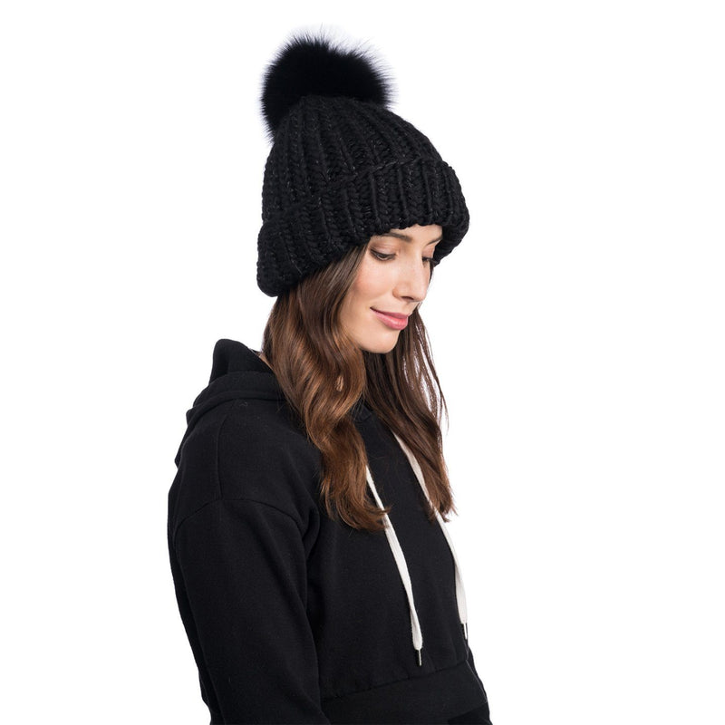 Rain Wool Hand-Knit Beanie in Black