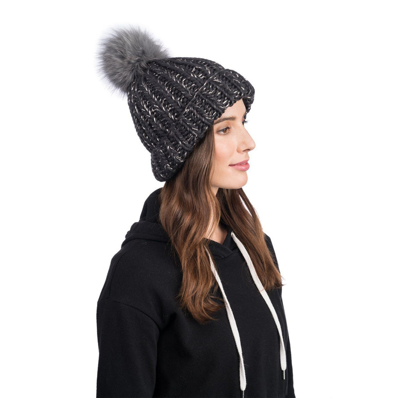 Rain Wool Hand-Knit Beanie in Charcoal with Faux Fur Pom