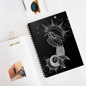 "Capricorn ""Ambition"" Mermaid Goddess Spiral Notebook - Ruled Line"