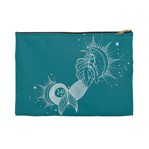 "Capricorn ""Ambition"" Mermaid Goddess Sea Goat Teal Accessory Pouch"
