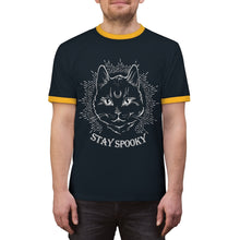 """Stay Spooky"" Midnight Familiar Black Cat Unisex Ringer Tee"