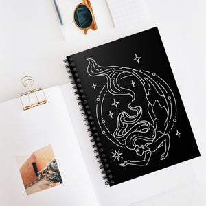 "Pisces ""Dive Deep"" Mermaid Goddess Astrology Zodiac Spiral Notebook - Ruled Line"