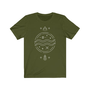 Aquarius Flowing Waves Zodiac Astrology Unisex Jersey Short Sleeve Tee