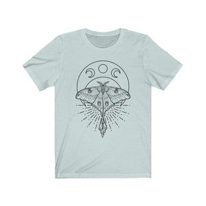 "Moons and Moths ""Mystic Luna Moth"" Zodiac Astrology Unisex Jersey Short Sleeve Tee"