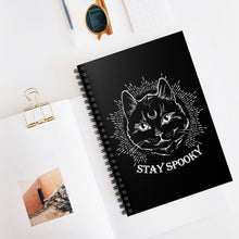 """Stay Spooky"" Midnight Familiar Black Cat Spiral Notebook - Ruled Line"