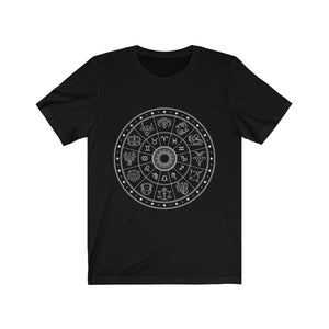 Zodiac Wheel Astrology Unisex Jersey Short Sleeve Tee