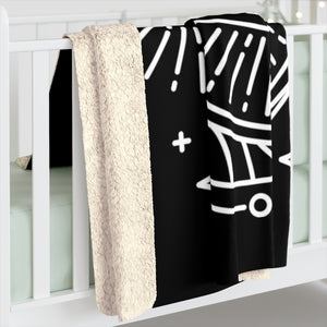 "Sagittarius Arrow Zodiac Astrology ""Intent"" Black Sherpa Fleece Blanket"