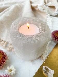 """Flower of Life"" Round Selenite Candle Holder"