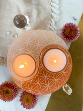 Large White and Peach Selenite Yin Yang Candle Holder in Henna Prayer or Flower of Life