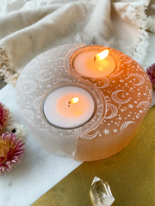 "Large White and Peach Selenite Yin Yang Candle Holder engraved with ""Celestial Bodies"" moon and stars pattern"