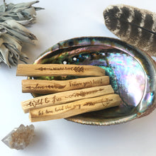 "Set of 4 ""Guidance"" Etched Palo Santo"