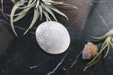 "Etched Selenite Palmstone ""Flower of Life"" Sacred Geometry"