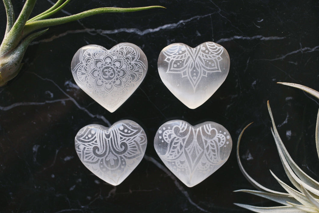Set of 4 Selenite Hearts