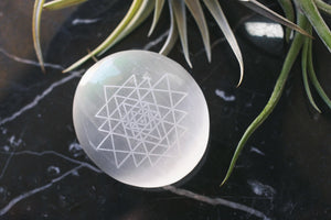 "Etched Selenite Palmstone ""Sri Yantra Thin"""