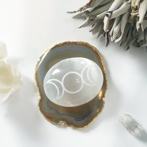 "Etched Selenite Palmstone ""Triple Goddess Moon"""
