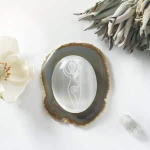 "Etched Selenite Palmstone ""Ancient Goddess"" -Wholesale"
