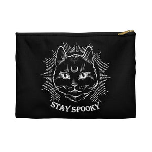 """Stay Spooky"" Midnight Familiar Black Cat Accessory Pouch"