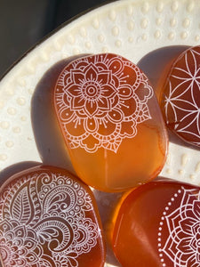 Carnelian Agate Pocket Stone Etched with Flower of Life or Various Mandalas