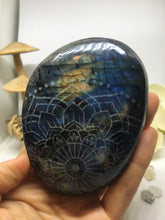 #127 Stunning Extra Flashy Electric Blue and Green Extra Large Labradorite Palmstone Etched with Radiate Bliss Mandala