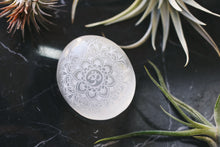 "Etched Selenite Meditation Palm stone ""OM Mandala"""