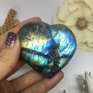 Flashy Blue and Gold Labradorite Heart Etched with Radiate Bliss Mandala 3