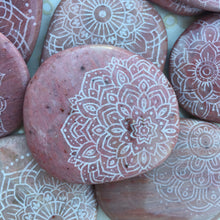 Rare Pink Petrified Wood Palmstone Etched with Mandala, Henna, Or Sacred Geometry