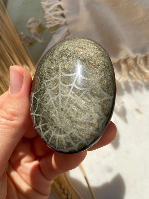 """Cobweb"" Spider Web Mandala Gold Sheen Obsidian Pocket Stone with"