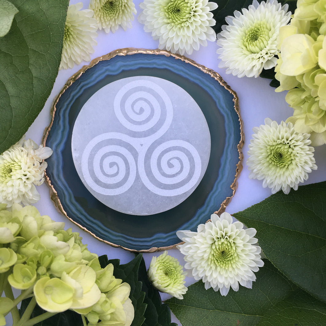 """Triskelion"" Selenite Charging/Cleansing Disc Plate Crystal Grid"