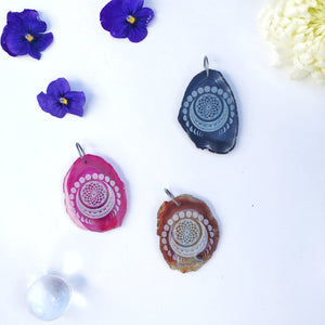 """Manifest Moon"" Colored Agate Slice Necklace"