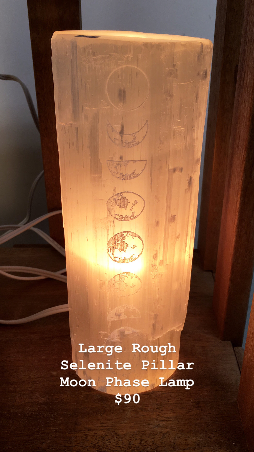 """Moon Phase"" Rough Selenite Lamp with dimmer"