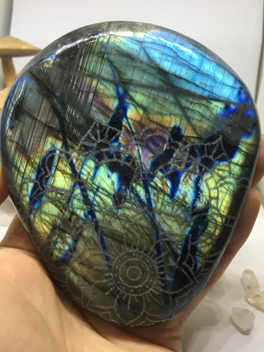 #132 Magnificent Deep  Rainbow Electric Blue Gold and Purple Extra Large Labradorite Palmstone Etched with Flower Mandala