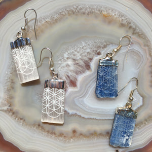 "Selenite or Kyanite Electroformed Earrings ""Flower of Life"""