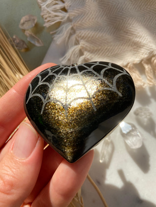 """Cobweb"" Spider Web Mandala Gold Sheen Obsidian Heart Pocket Stone and Pendant"