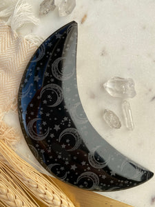 "Black Obsidian Moon Etched with ""Celestial Bodies"""