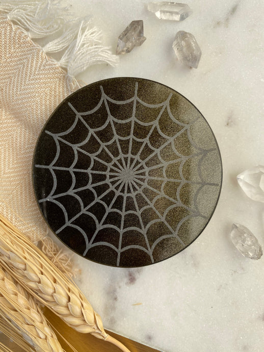 "2.75"" Gold Sheen Obsidian Disc Crystal Grid with ""Spiderweb"" Mandala Cobweb"