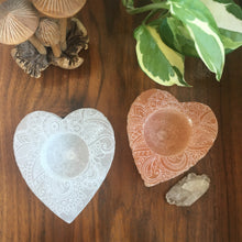 White and Peach Selenite Heart Candle Holder Etched with Henna Prayer